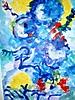 Ramo de claveles azules y amarillos